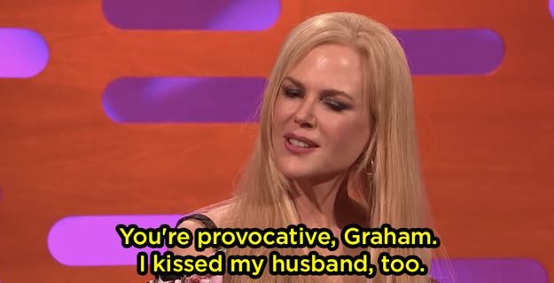 """Well, on Friday, Nicole was on The Graham Norton Show, and she explained why she kissed Skarsgård. When first asked, she was like, """"Don't forget, I kissed my husband too."""""""