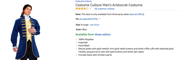 "This ""Men's Aristocratic Costume"" certainly isn't supposed to be Alexander Hamilton from Hamilton."
