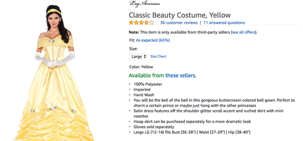 "Frankly, you're mistaken if you think this ""Classic Beauty Costume"" is Belle from Beauty and the Beast."