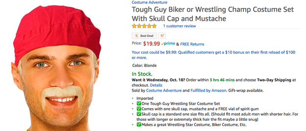 "And finally, this is for sure absolutely, no way, not a chance, Hulk Hogan. It's ""Tough Guy Biker or Wrestling Champ Costume."""