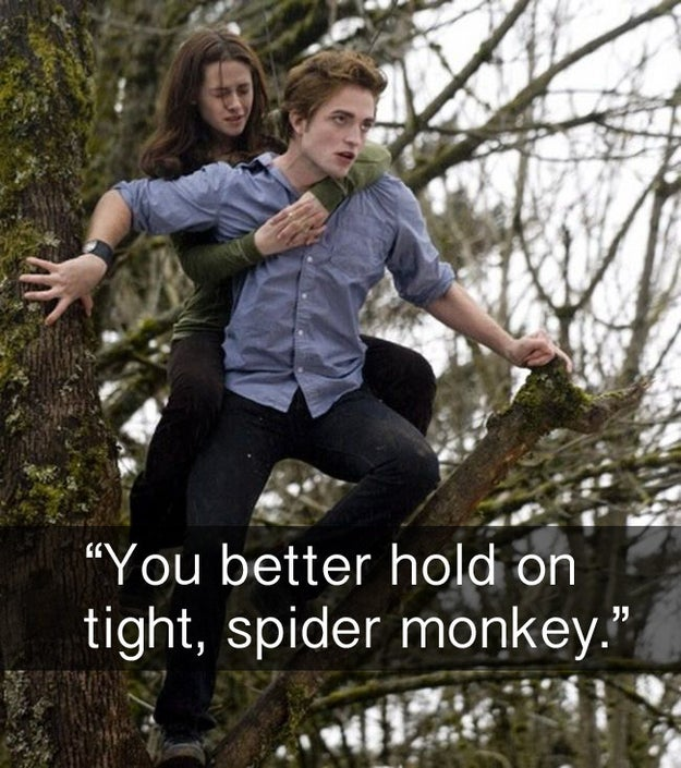 When, in Twilight, Edward gives Bella a piggyback ride.