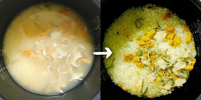 材料(2人分)-いちご煮:1缶-米2合水に浸しておいたお米2合を一度水切りして、いちご煮1缶を加えて炊き込むと...