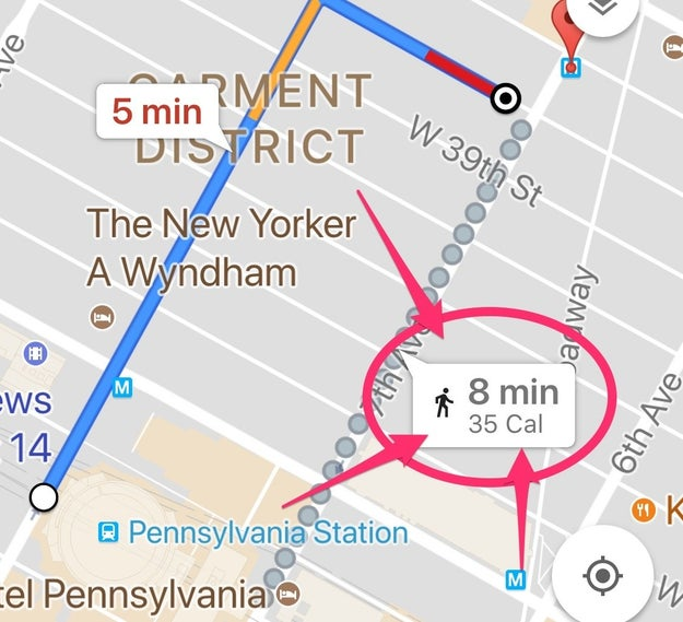 Google Maps has a new feature for walking directions. Now, it shows you how many calories you would burn if you walked: