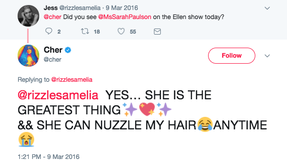 When she expressed her love for Sarah Paulson.