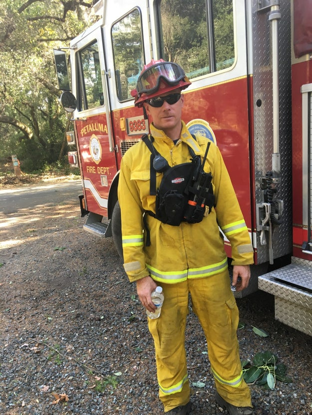 "Near the front lines of the Oakmont fire, which flared up from rustling winds Sunday, Captain Kevin Weaver and his Petaluma crew have only ""seen a bed twice and a shower twice"" since they started battling flames in Santa Rosa a week ago."