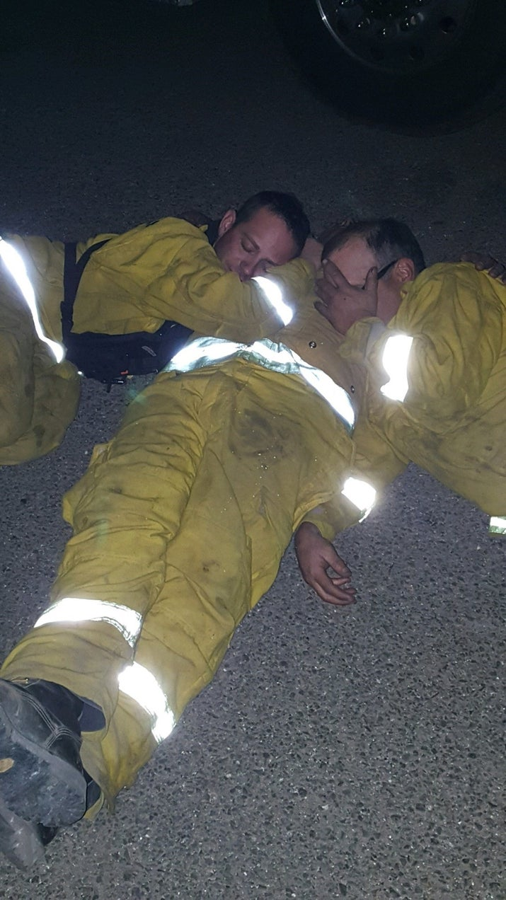 firefighters are running on caffeine and adrenaline battling the