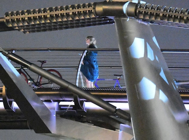 And here she is filming a scene on the Millennium Bridge: