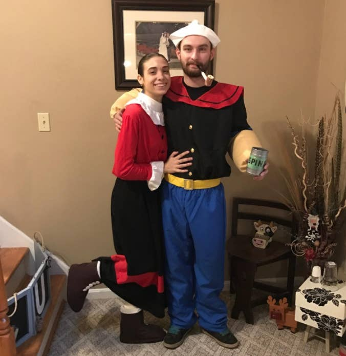 15 hilarious couple halloween costumes you can get on amazon popeye and olive oyl because every couple should dress as this famous pairing at least once dont forget the spinach solutioingenieria Image collections