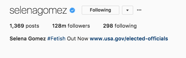 I'm proud to say I'm one of a really small sample size of 128 million humans who follow Selena Gomez on Instagram — makes me feel unique! Special! One of a kind!