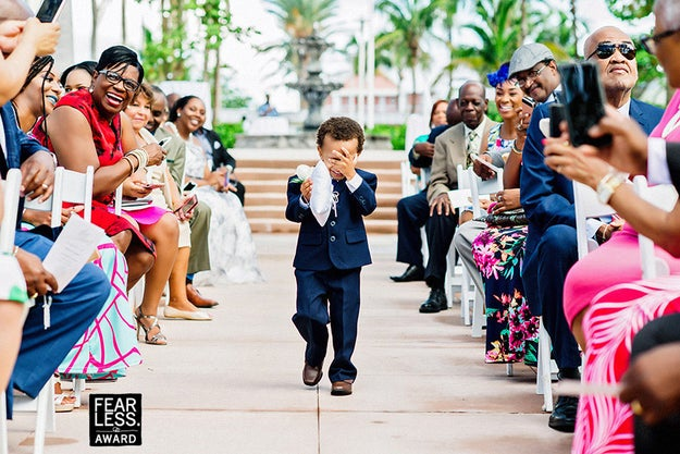 This adorably bashful ring bearer.