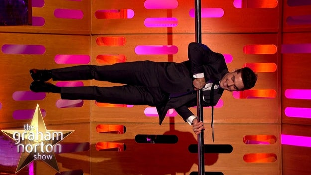 This stripper pole challenge on The Graham Norton Show.