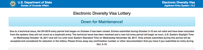 The notice on the electronic diversity visa lottery site.