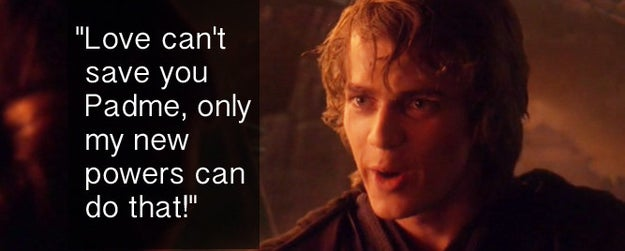 When Anakin was STOKED about his new powers in Revenge of the Sith.