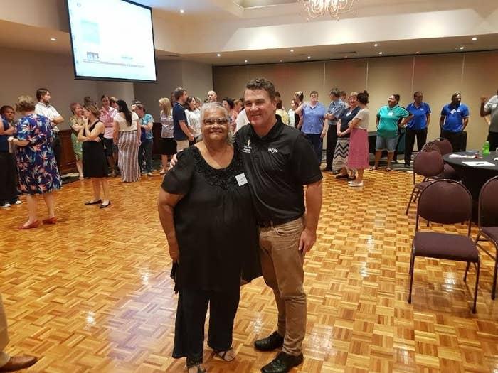 Aunty Priscilla Illes and Andrew Evetts, Principal of Wadja Wadja High School in Woorabinda, Central Queensland.