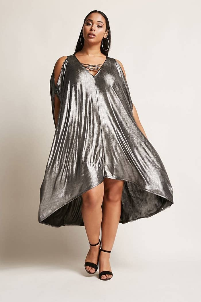 81493a16f5c3 A ✨dazzling✨ metallic cocoon dress with batwing sleeves you can wear on  your next expedition to the stars — you know, next week.