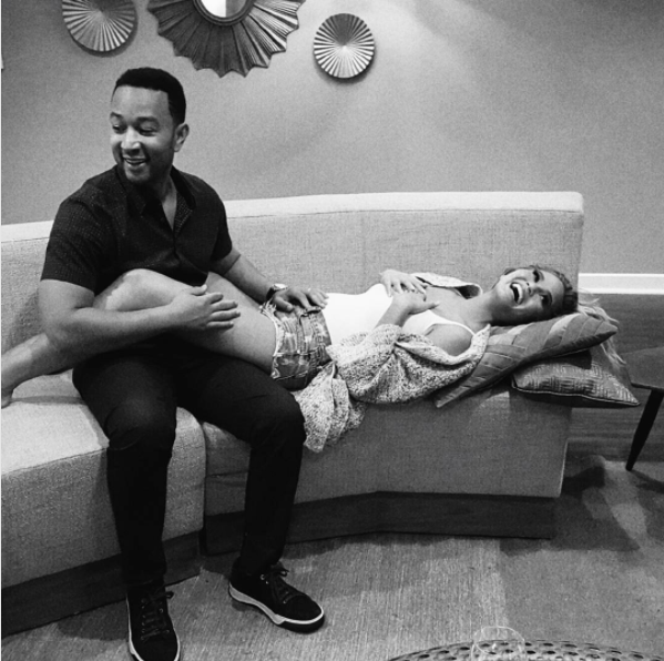 """The funny Victoria's Secret model used this sweet photo to announce that she and musician hubby John Legend were expecting back in 2015. Her Instagram caption: """"John and I are so happy to announce that we are pregnant :) As many of you know, we've been trying to have a baby for a while now. It hasn't been easy, but we kept trying because we can't wait to bring our first child into the world and grow our family. We're so excited that it's finally happening. Thank you for all your love and well wishes. I look forward to all the belly touching! Xx""""Deets on the baby: The couple welcomed their daughter, Luna, in April 2016."""