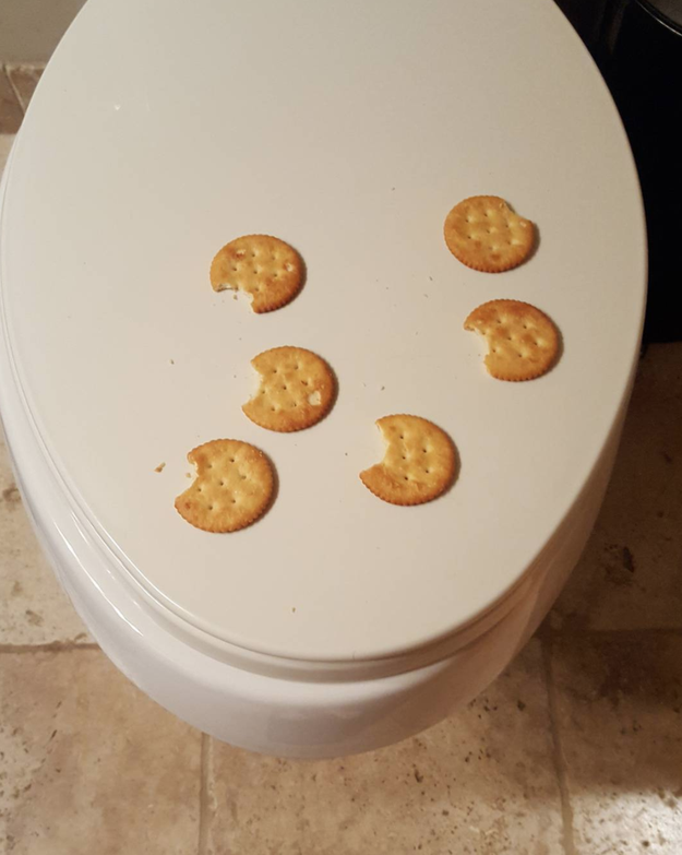 And this kid who has to eat his crackers on the toilet seat...and only one bite per cracker.