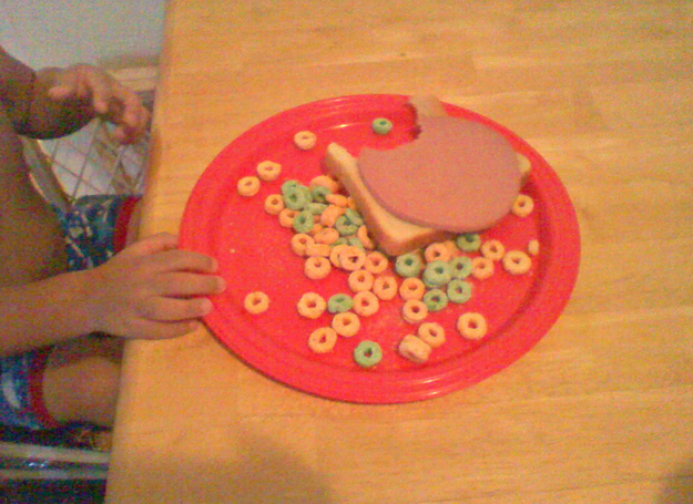 This kid who has to eat his bologna over a fresh bed of Apple Jacks.