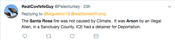 """The Santa Rosa fire was not started by climate, it was Arson by an illegal alien, in a sanctuary city,"" one user tweeted to President Trump."