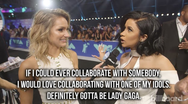 And finally, just as Bodak began dominating the charts and Cardi started taking over the world, she put out a call to Gaga on the VMA's red carpet: