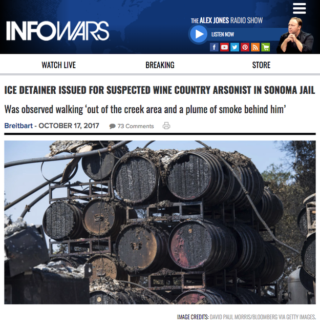 The report ricocheted across right-wing media outlets, including InfoWars and the Drudge Report, which shared Breitbart's unsubstantiated claims.