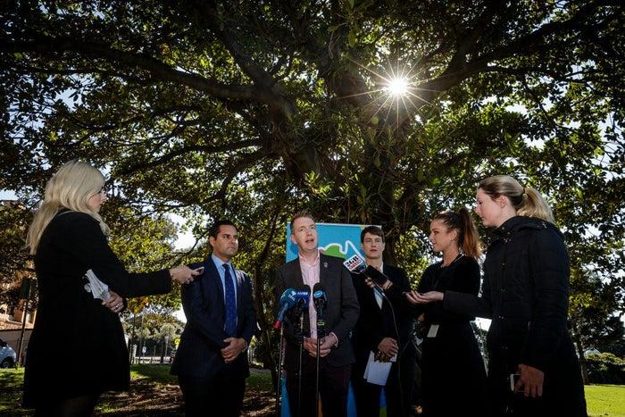 Tiernan Brady speaks at a media conference in Sydney.
