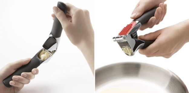 A surprisingly handy garlic press — which helps cut prep time way down.