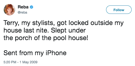 That time her stylist, Terry, had to sleep under the pool house.