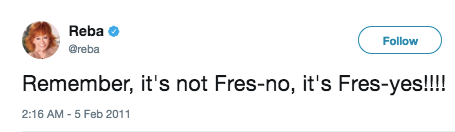 That time she had something to say about the city of Fresno.