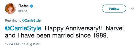 "That time she wished someone a happy anniversary and I learned that her husband's name is ""Narvel."""