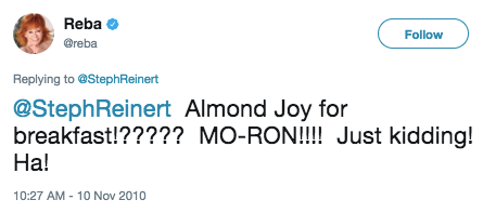 That time she called someone a mo-ron for eating an Almond Joy for breakfast.