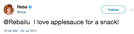 And that time she professed her love for applesauce.