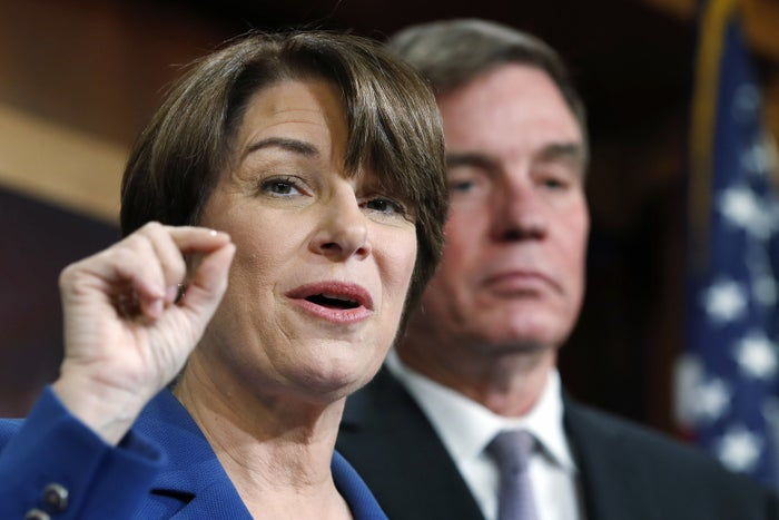 Sens. Amy Klobuchar and Mark Warner speak about online political ads and preventing foreign interference in US elections.