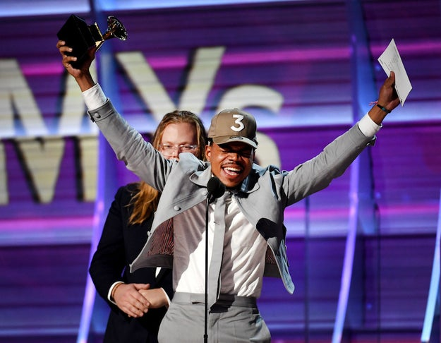 The Chicago native walked away with THREE big awards including Best Rap Album for Coloring Book (yes, it is a mixtape but w.e.), Best New Artist, and Best Rap Performance.