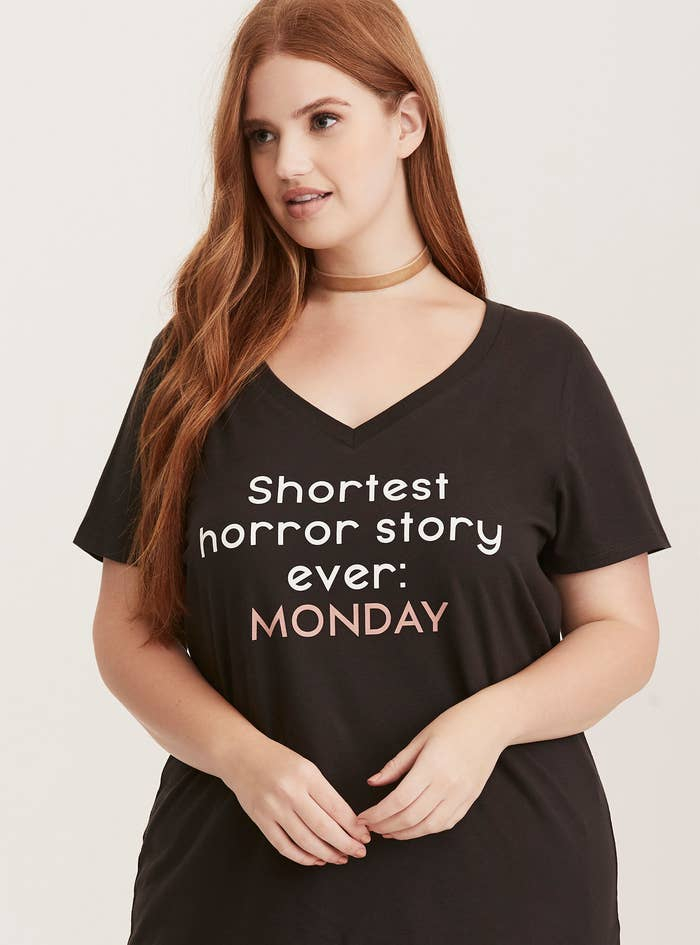 aec124c3 A v-neck top for when you need people to really understand why you hate  horror stories so damn much. Get it from Torrid for $21.67. Available sizes  00-6.