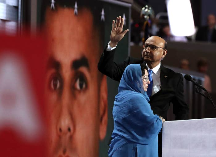 Khan and his wife, Ghazala Khan, at the Democratic National Convention in Philadelphia, July 28, 2016.