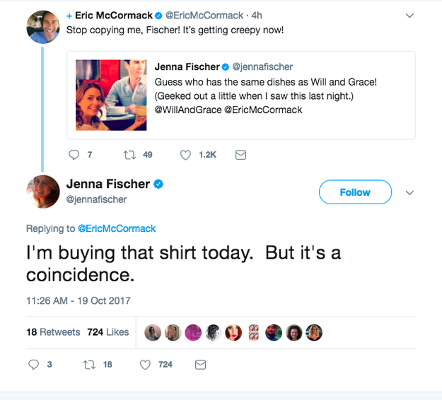 Eric McCormack, who plays Will on the show, saw Jenna's tweet and the two had an adorable exchange.
