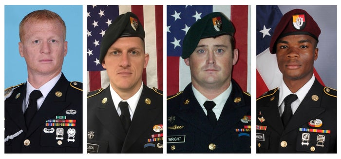 U.S. Army Special Forces members killed in Niger (from left): Jeremiah Johnson, Bryan Black, Dustin Wright and La David Johnson.