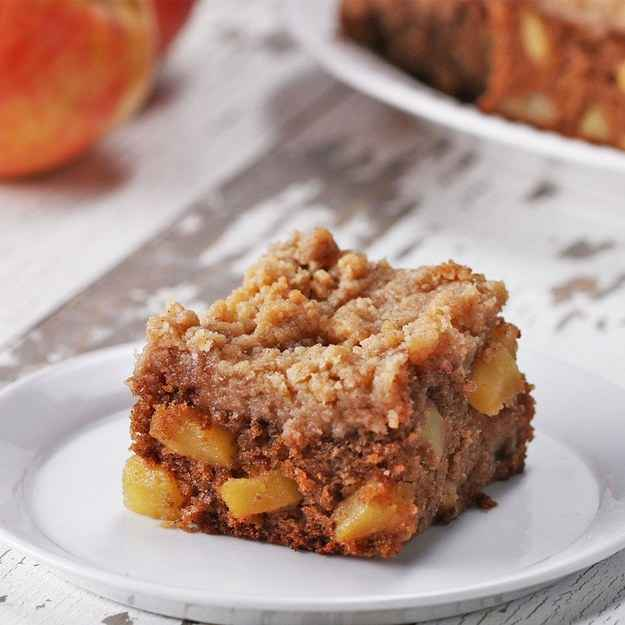 9 blondiesINGREDIENTSCrumble115 g (1/2 cup) butter, cold and cubed55 g (1/4 cup) brown sugar50 g (1/4 cup) sugar1/2 teaspoon cinnamon125 g (1 cup) flourBlondies155 g (1 1/4 cups) flour2 teaspoons cinnamon1/2 teaspoon nutmeg1/2 teaspoon salt1/2 teaspoon baking soda115 g (1/2 cup) unsalted butter, melted110 g (1/2 cup) brown sugar55 g (1/4 cup) maple syrup1  egg1 tablespoon vanilla extract2  apple, cored, seeded, and diced1 tablespoon lemon juicePREPARATION1. Preheat oven to 350˚F (180˚C).2. In a bowl, add the butter, brown sugar, sugar, cinnamon and flour. Use a fork incorporate all of the ingredients until a coarse crumb forms. Chill until ready to use.3. In a bowl, add the flour, cinnamon, nutmeg, salt, and baking soda, stir to combine.4. In a large bowl, add the butter, sugar, and maple syrup. Whisk until fully incorporated,5. Add the egg and vanilla to the bowl with the butter and mix until fully incorporated.6. Add half of the flour mixture, and mix until just combined. Add the second half of the flour mixture and mix until there are streaks of flour still showing, making sure to not overmix.7. Pour the lemon juice over the apples then gently fold the apples into the batter.8. Spread batter evenly into a greased 9-inch (23 cm) square cake pan.9. Sprinkle crumble mixture over the top, creating different size crumble pieces by squeezing some small clumps together in your hands for varying texture.10. Bake for 25 minutes, or until toothpick comes out clean, cover with foil the last 5 minutes to prevent the top from over baking.11. Let cool for about 20 minutes, slice and serve.12. Enjoy!Inspired by:http://wickedgoodkitchen.com/apple-pie-crumble-blondies/