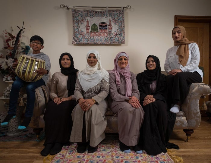 Katie Freeman with her host Saima Alvi and her family on My Week as a Muslim.