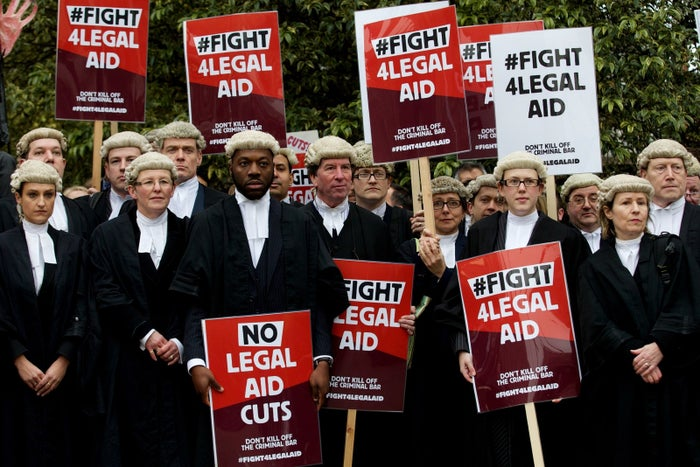 Legal professionals protest against cuts to the legal aid budget on 7 March 2014.