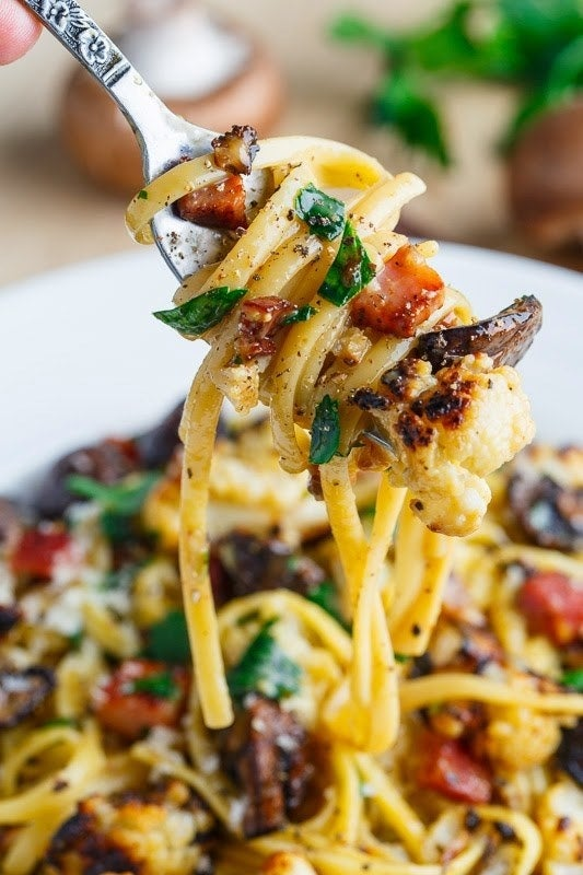 This recipe has all the flavors of classic carbonara, but it's loaded with roasted veggies that'll fill you up without weighing you down. Get the recipe.