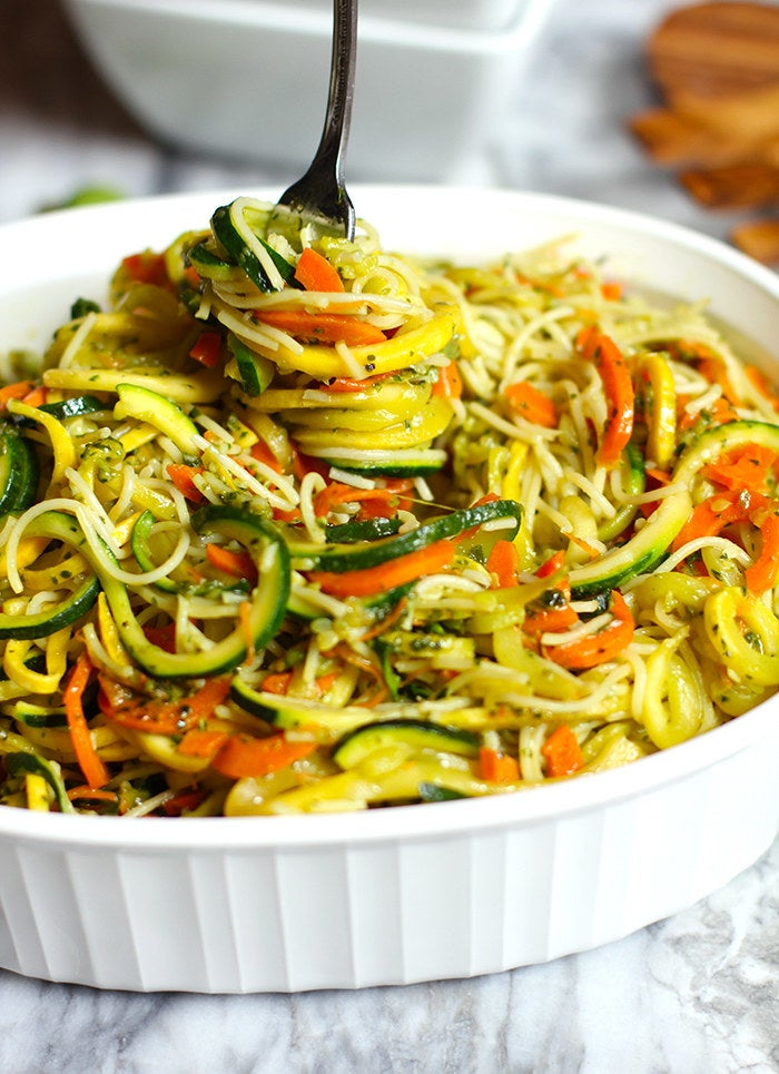 Angel hair pasta gets bulked up with spiralized zucchini, carrots, and squash. Then the whole thing gets tossed in nutty pesto (which you can whip up from scratch or buy pre-made). Get the recipe.