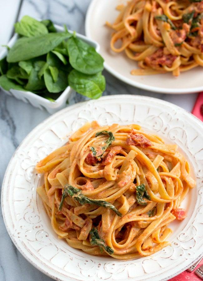 Non-fat Greek yogurt and sour cream makes this pasta taste totally decadent. Get the recipe.