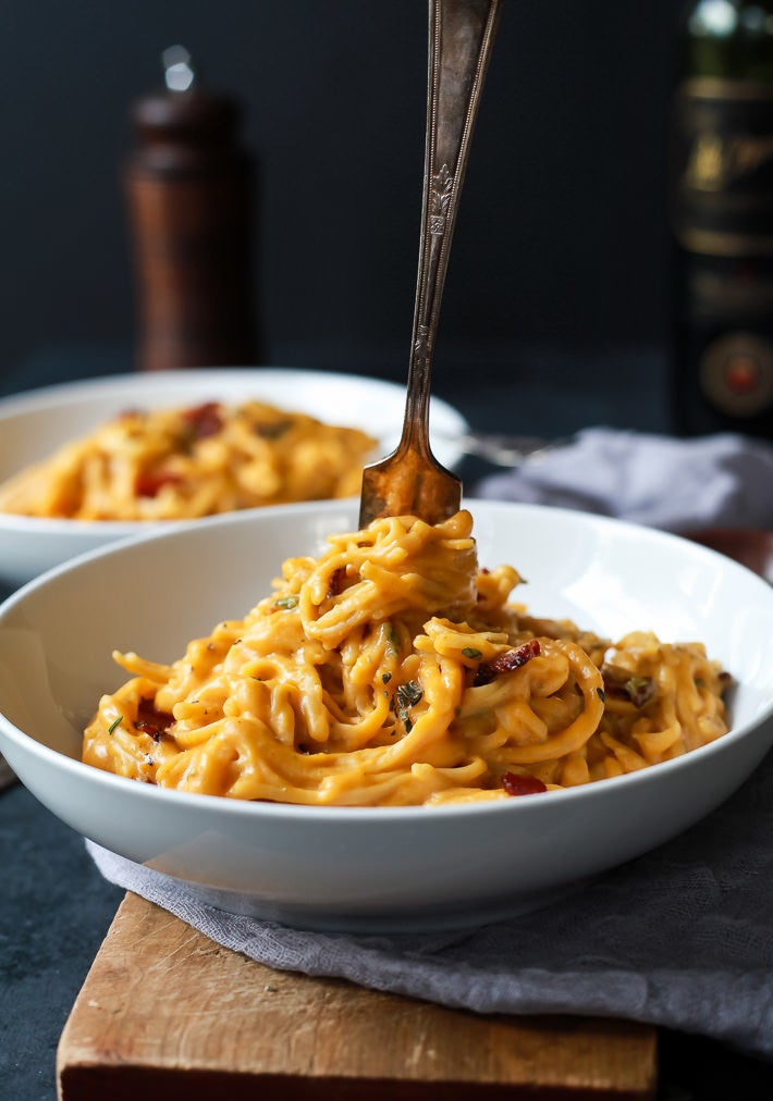 """Take advantage of fall's produce and make this rich """"alfredo"""" sauce with roasted butternut squash and milk. Get the recipe."""