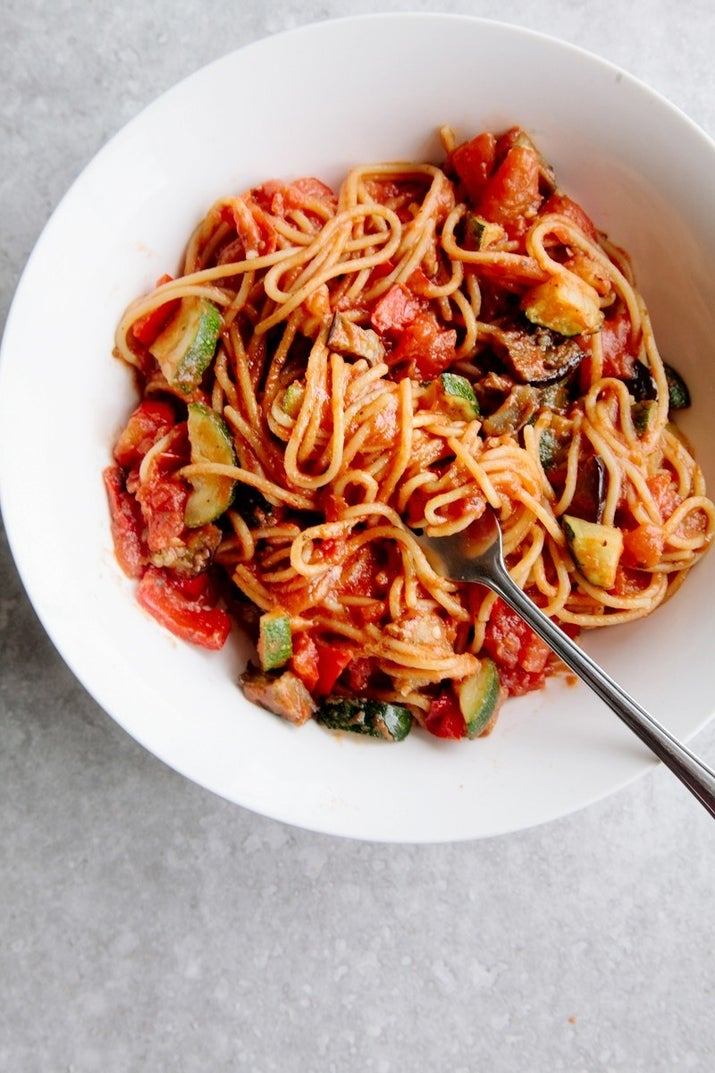 Ready in about 20 minutes, this simple spaghetti gets an upgrade from eggplant, zucchini, pepper, and tomato, all sautéed into melt-in-your-mouth goodness. Get the recipe.