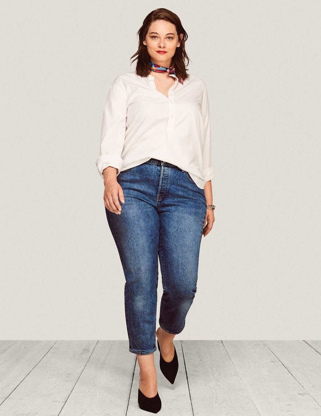 These jeans have a touch of stretch to 'em, but are made from an innovative denim that has amazing retention. This means that these bad boys won't lose their shape after only a couple of wears. Get them from Warp + Weft for $98 (plus get 15% off your first order). Sizes: 14-24. Available in three colors.