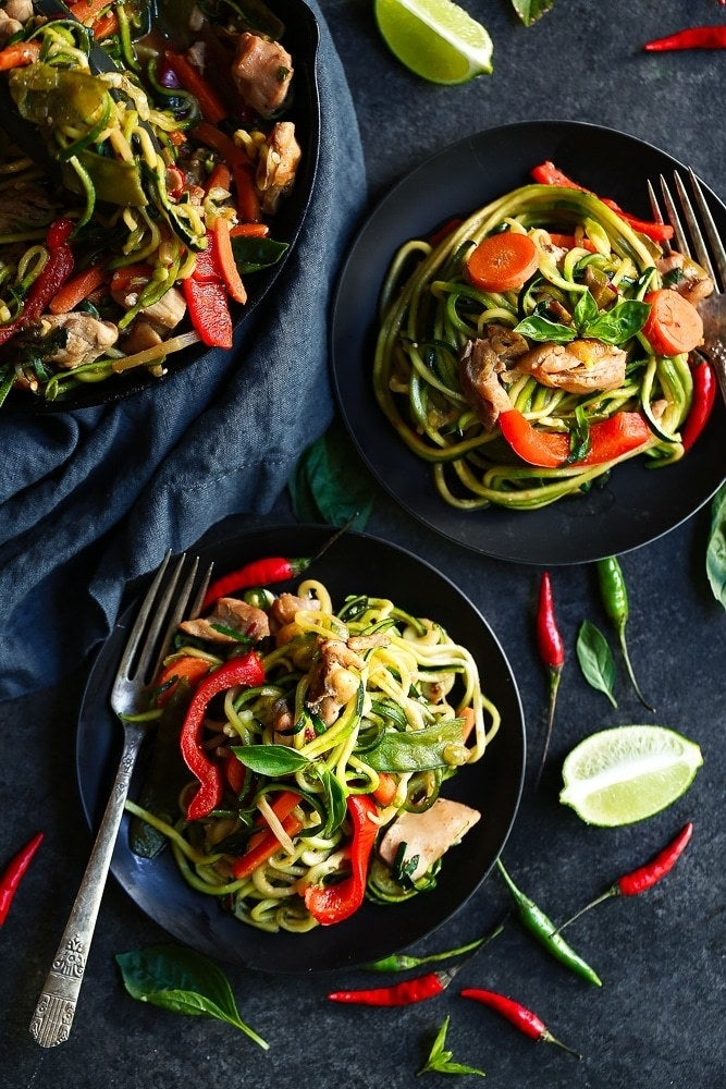 Who needs takeout when you can make this better-for-you take on an Asian classic? Plus, there's nothing bland about zucchini noodles when they're drowning in a sauce of chili garlic paste, fish sauce, lime, and ginger. Get the recipe.