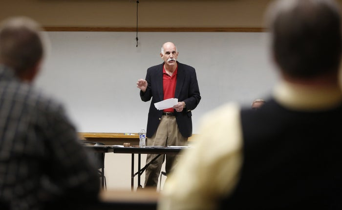 Brent Regan leads a meeting of the Kootenai County Republican Central Committee in Coeur d'Alene, Idaho, on Sept. 26.