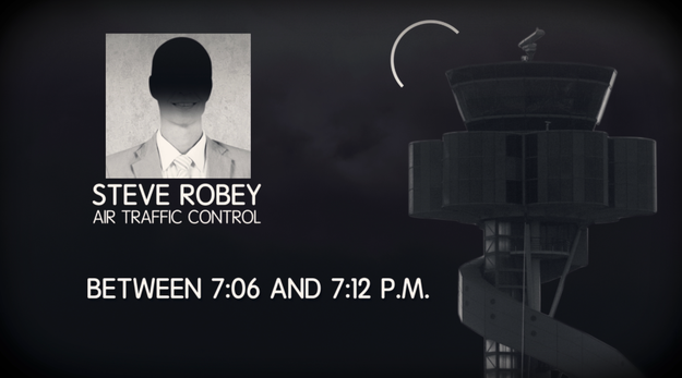 Between 7:06 and 7:12 PM, he made contact with Steve Robey at Air Traffic Control in Melbourne. During the transmission, he asked if there were any known aircraft in his area and claimed there was a large aircraft flying about 1,000 feet above him with four bright lights.